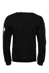 Siyah Baskı Detaylı Bisiklet Yaka Sweatshirt - Thumbnail