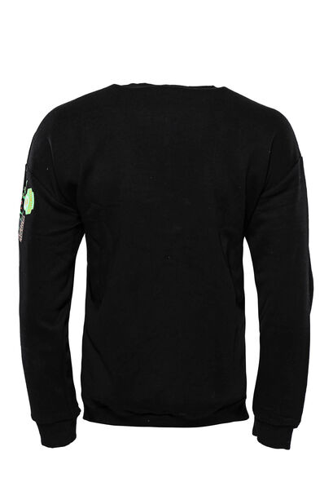 Siyah Baskı Detaylı Bisiklet Yaka Sweatshirt