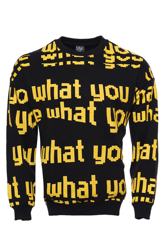Siyah Baskılı Bisiklet Yaka Sweatshirt