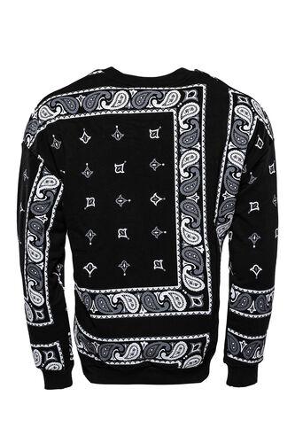 Siyah Baskılı Desenli Bisiklet Yaka Sweatshirt