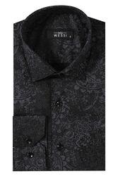 Desenli Siyah Uzun Kollu Gömlek | Wessi - Thumbnail
