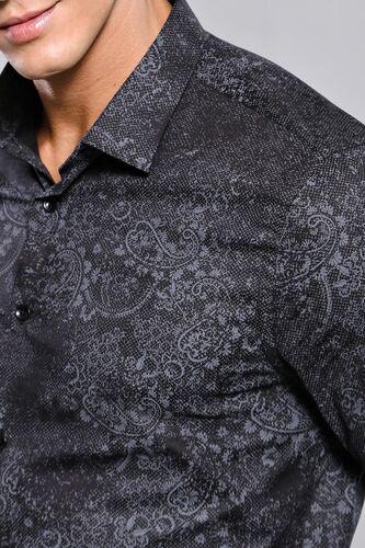 Desenli Siyah Uzun Kollu Gömlek | Wessi
