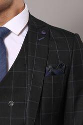 Siyah Ekose Keten Takım Elbise   Wessi - Thumbnail