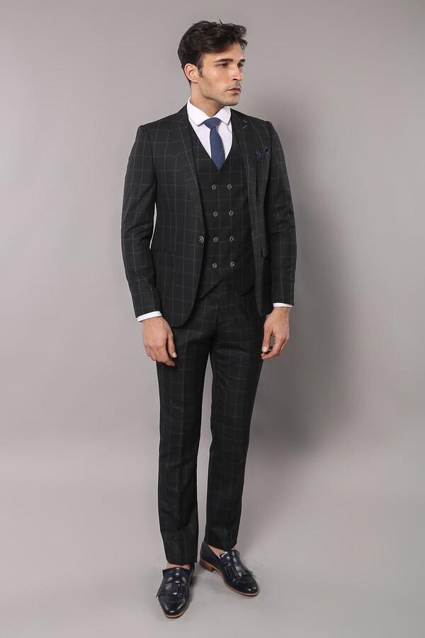 Siyah Ekose Keten Takım Elbise   Wessi