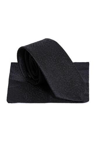 Siyah Kendinden Desenli Mendil Kravat Set