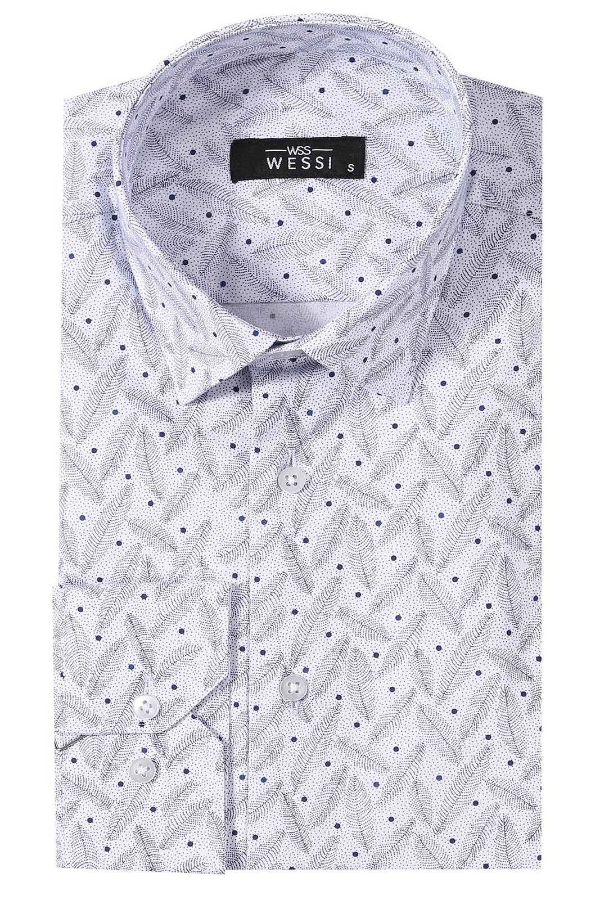 Nokta Desenli Beyaz Uzun Kollu Gömlek | Wessi