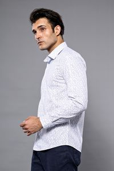 Nokta Desenli Beyaz Uzun Kollu Gömlek | Wessi - Thumbnail