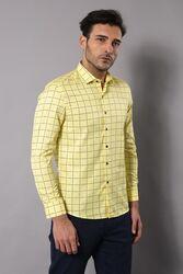 Slimfit Ekose Desenli Sarı Gömlek - Thumbnail