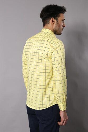 Slimfit Ekose Desenli Sarı Gömlek