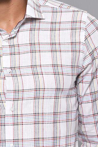 Ekose Desen Beyaz Uzun Kollu Gömlek   Wessi