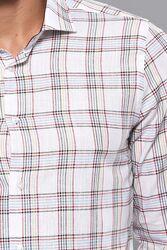 Ekose Desen Beyaz Uzun Kollu Gömlek | Wessi - Thumbnail