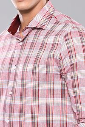 Ekose Desenli Bordo Uzun Kollu Gömlek | Wessi - Thumbnail