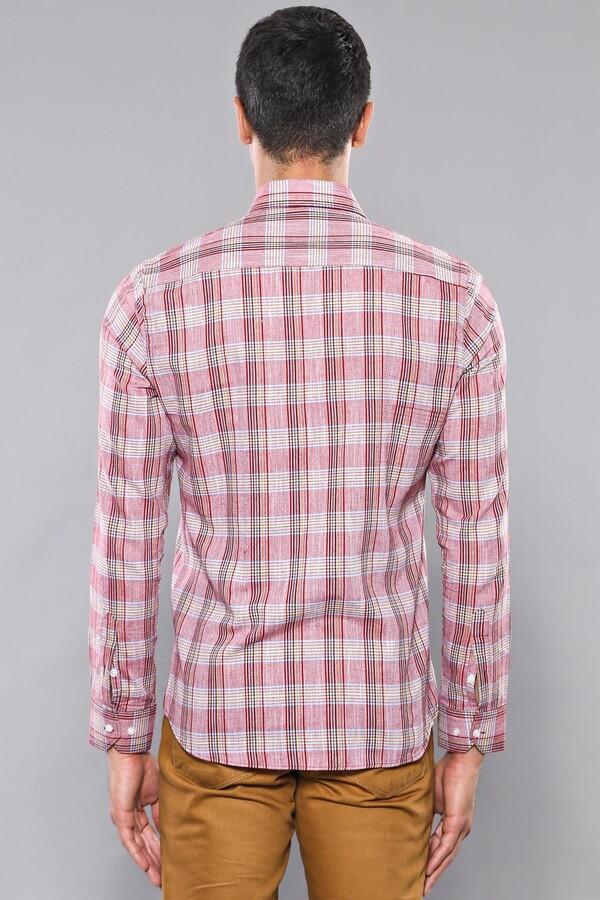 Ekose Desenli Bordo Uzun Kollu Gömlek | Wessi