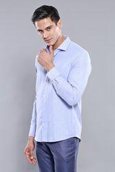 Kendinden Desenli Mavi Uzun Kollu Gömlek | Wessi - Thumbnail