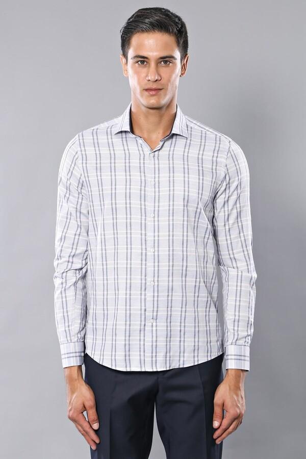 Ekose Desen Beyaz Uzun Kollu Gömlek | Wessi