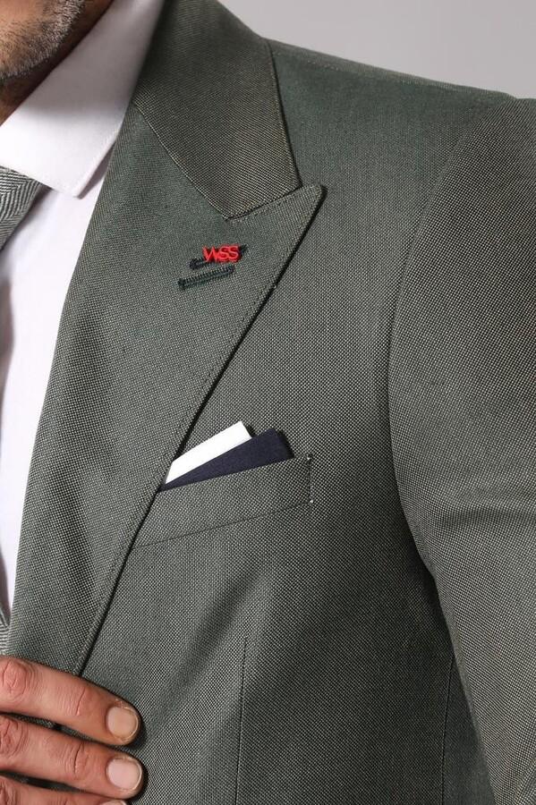 Tek Düğme Geniş Sivri Yaka Yeşil Ceket