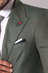 Tek Düğme Geniş Sivri Yaka Yeşil Ceket - Thumbnail