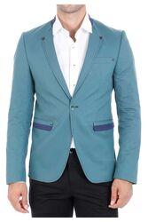 Wessi - Tek Düğme Hakim Yaka Yeşil Pamuk Ceket