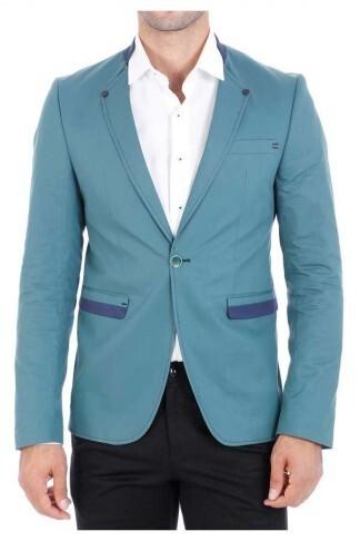 Tek Düğme Hakim Yaka Yeşil Pamuk Ceket