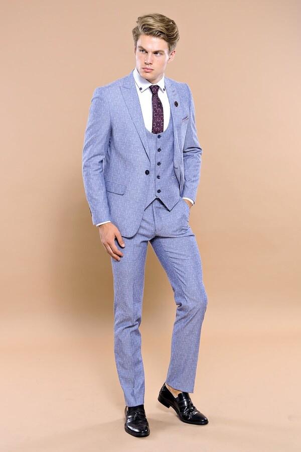 Tek Düğme Sivri Yaka Mavi Yelekli Takım Elbise | Wessi