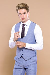 Tek Düğme Sivri Yaka Mavi Yelekli Takım Elbise | Wessi - Thumbnail