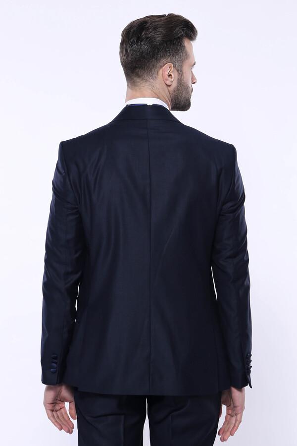Tek Düğme Saten Yaka Yelekli Lacivert Damatlık Takım Elbise