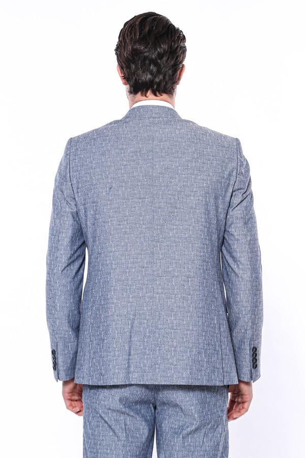 Tek Düğme Sivri Yaka Açık Lacivert Yelekli Takım Elbise | Wessi