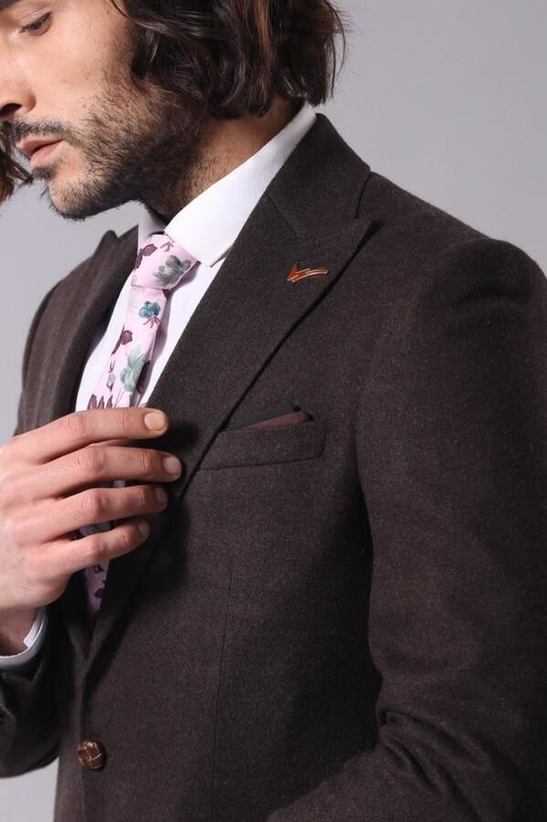 Tek Düğme Sivri Yaka Kahverengi Ceket