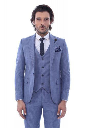 Wessi - Tek Düğme Sivri Yaka Yelekli Desenli Açık Mavi Takım Elbise (1)