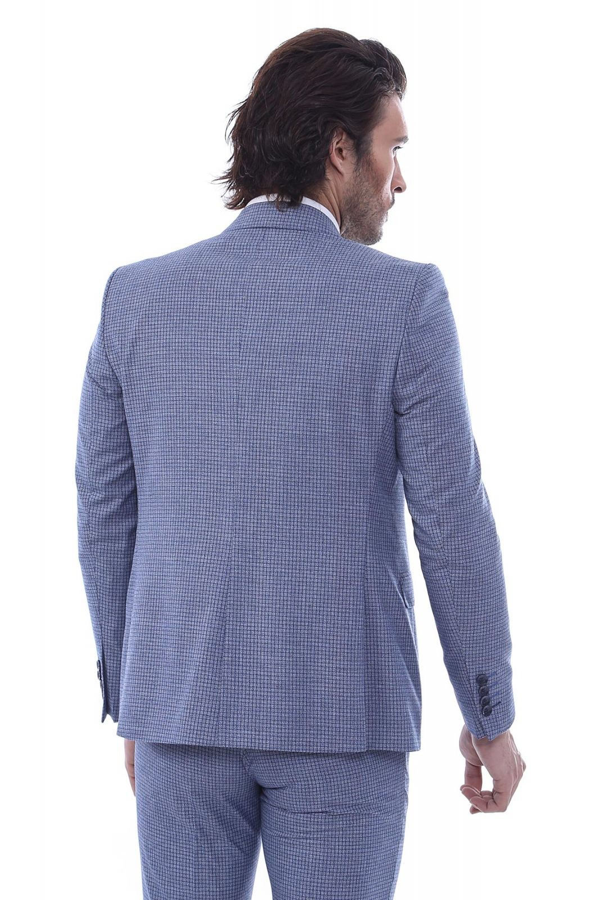 Tek Düğme Sivri Yaka Yelekli Desenli Mavi Takım Elbise
