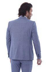 Tek Düğme Sivri Yaka Yelekli Desenli Mavi Takım Elbise - Thumbnail