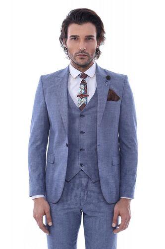 Wessi - Tek Düğme Sivri Yaka Yelekli Desenli Mavi Takım Elbise (1)