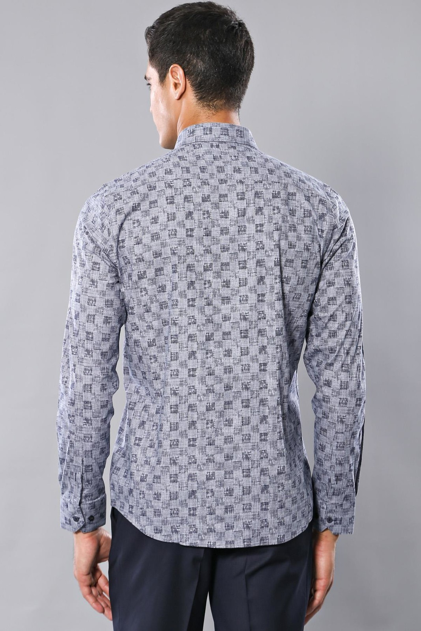 Desenli Gri Uzun Kollu Gömlek   Wessi
