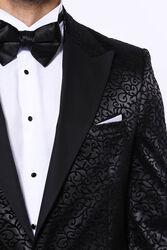 Siyah Desenli Smokin Ceketi | Wessi - Thumbnail