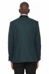 Yeşil Şal Yaka Simli Smokin Ceket | Wessi - Thumbnail