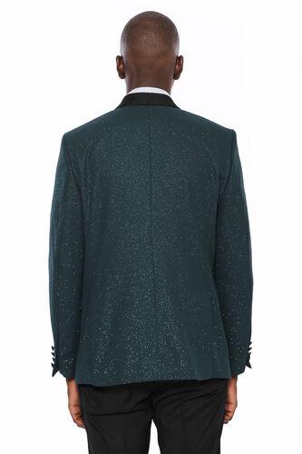 Yeşil Şal Yaka Simli Smokin Ceket | Wessi