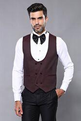 Yelekli Bordo Damatlık Takım Elbise | Wessi - Thumbnail