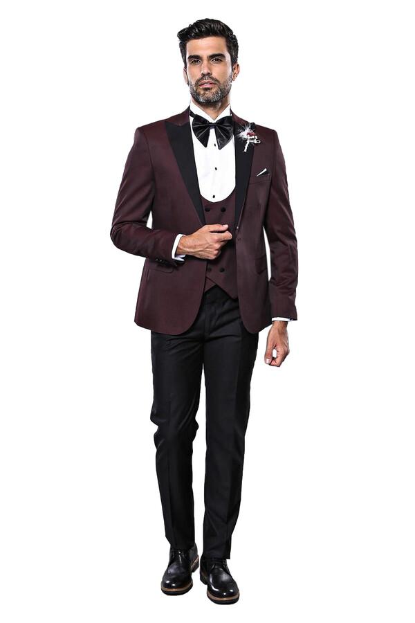 Yelekli Bordo Damatlık Takım Elbise | Wessi