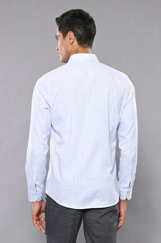 Kendinden Desenli Buz Mavi Uzun Kollu Gömlek | Wessi