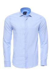Kendinden Desenli Buz Mavi Uzun Kollu Gömlek | Wessi - Thumbnail