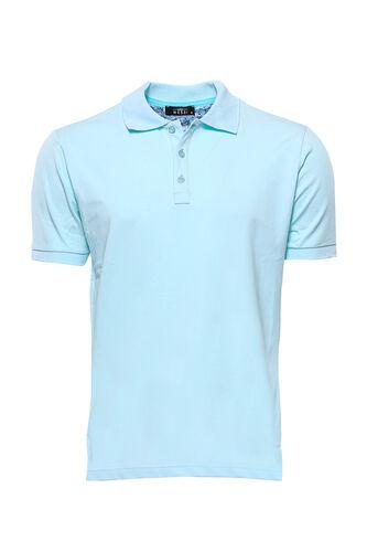 Polo Yaka Düz Açık Mavi T-shirt | Wessi