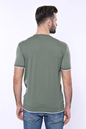 Bisiklet Yaka Kenarları Desenli Yeşil Örme T-shirt | Wessi