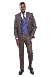 Ekose Ceket Pantolon Yelek Düz Kahverengi Takım Elbise | Wessi - Thumbnail