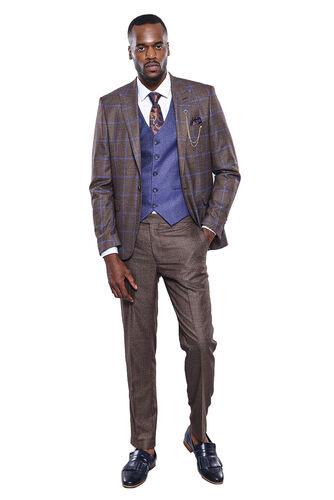Ekose Ceket Pantolon Yelek Düz Kahverengi Takım Elbise | Wessi