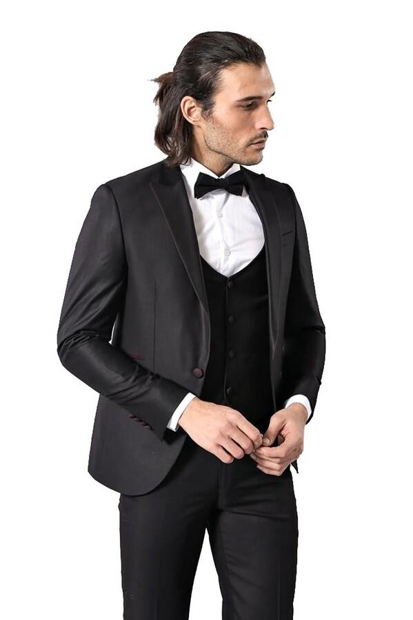 Yaka İnce Biyeli Siyah Damatlık Takım Elbise | Wessi
