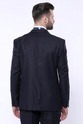 Yaka Pileli Lacivert Slim Fit Damatlık Takım Elbise   Wessi - Thumbnail