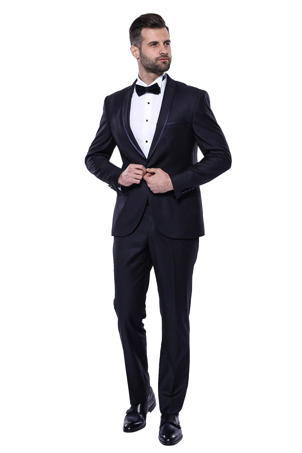 Yaka Pileli Lacivert Slim Fit Damatlık Takım Elbise   Wessi