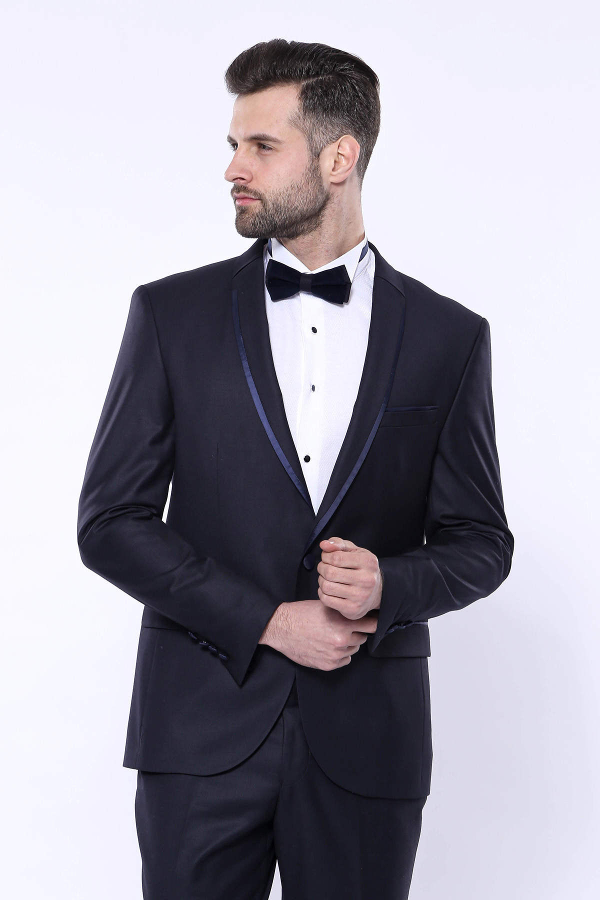 Yaka Pileli Lacivert Slim Fit Damatlık Takım Elbise | Wessi
