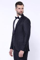 Yaka Pileli Lacivert Slim Fit Damatlık Takım Elbise | Wessi - Thumbnail