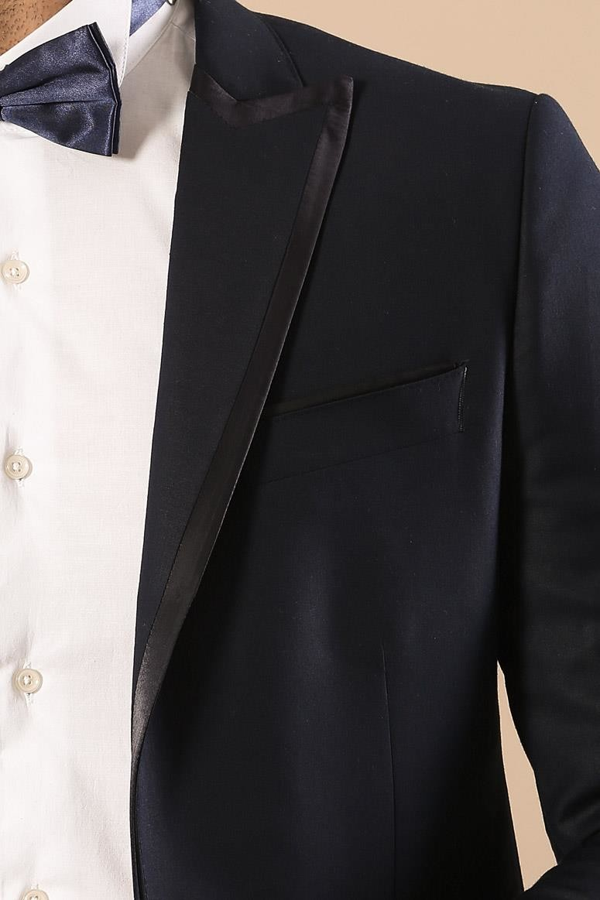 Yaka Saten Şeritli Damatlık Takım Elbise   Wessi